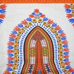 African Print-White, Orange, & Blue